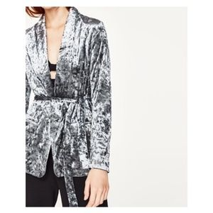 Zara Flowing Velvet Blazer with Belt